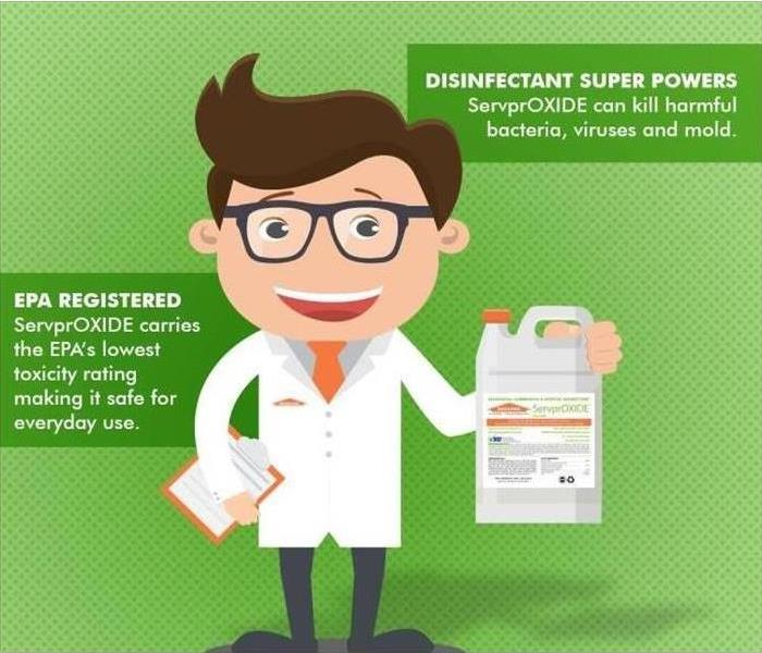 A cartoon scientist in a white lab coat holding a bottle of ServprOXIDE