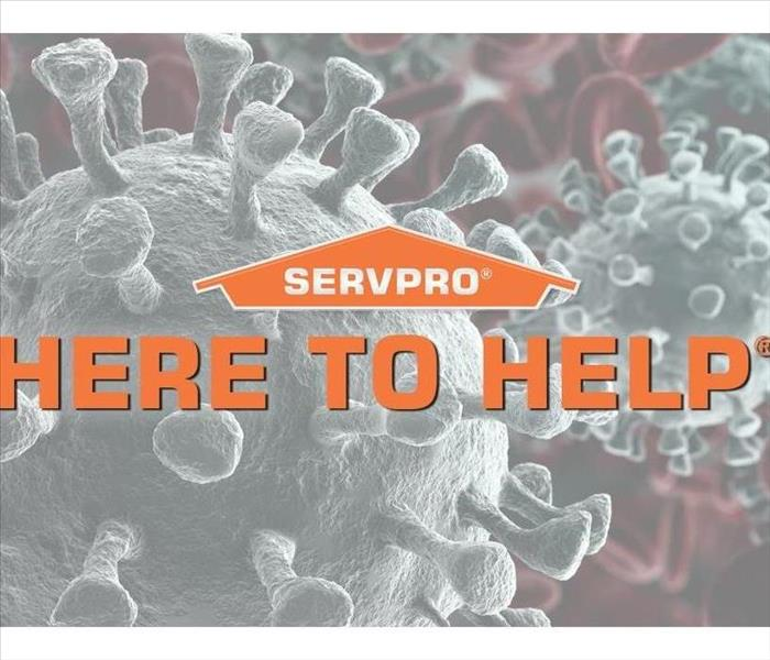 "SERVPRO logo with word ""Here to Help"" in front of a graphic of germs"
